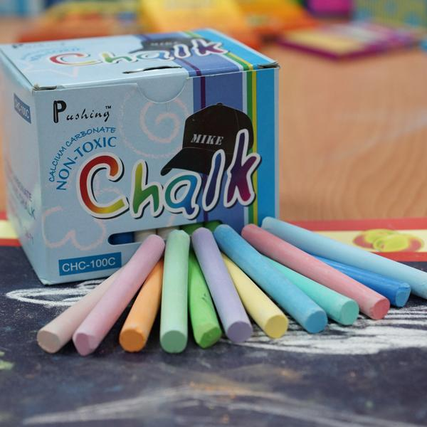 CHC-100C  碳酸鈣彩色粉筆 (100入裝)  - Calcium Carbonate Non-Toxic Chalks (colored 100pcs pack)