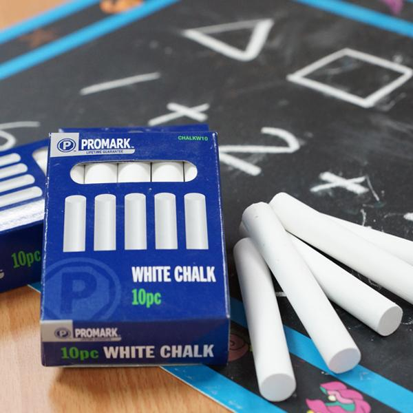 CHC-10W 碳酸鈣白色粉筆 (10入裝) - Calcium Carbonate Non-Toxic Chalks (white 10pcs pack)