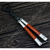 蝴蝶刀(啤酒開瓶器)木紋柄霧黑 Butterfly knife beer opener(D)