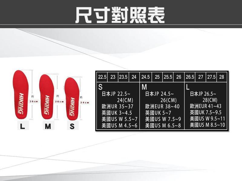 鞋墊尺寸對照表